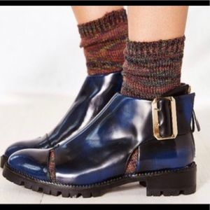 Jeffrey Campbell blue/black brushed patent booties